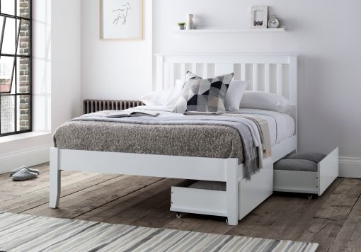 Malmo White Wooden Bed Frame Including Pair of Underbed Drawers
