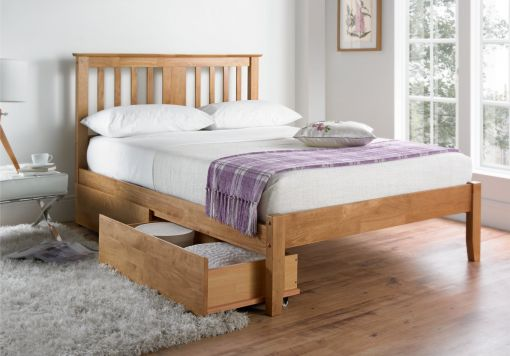 Malmo Oak Finish Wooden Bed Frame