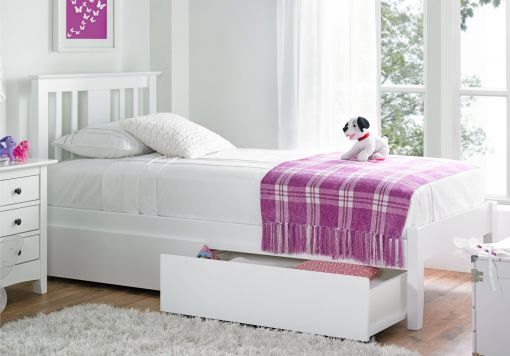 Malmo White Solo Wooden Bed Frame