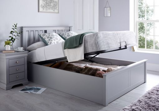 Malmo Grey Wooden Ottoman Storage Bed