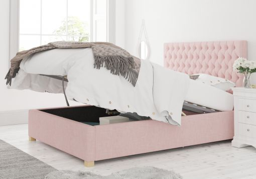 Malton Ottoman Pastel Cotton Tea Rose Bed Frame Only