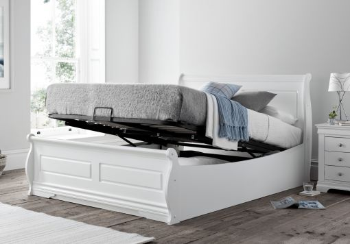 Marseille White Wooden Ottoman Storage Double Bed Frame Only