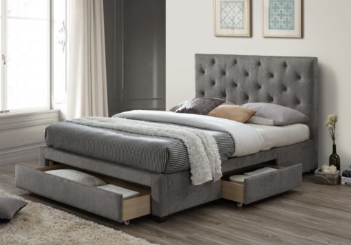 Sophia Upholstered 3 Drawer Storage Bed - Grey