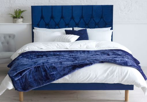 Catherine Lansfield Boutique Navy Upholstered Bed Frame Only
