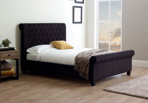 Francesca Upholstered Sleigh Bed - Black