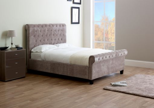 Francesca Upholstered Sleigh Bed - Mink