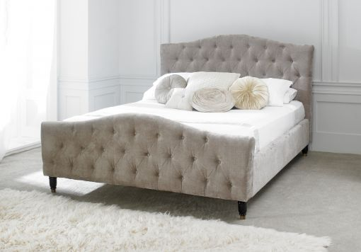 Annabel Upholstered Sleigh Bed - Mink