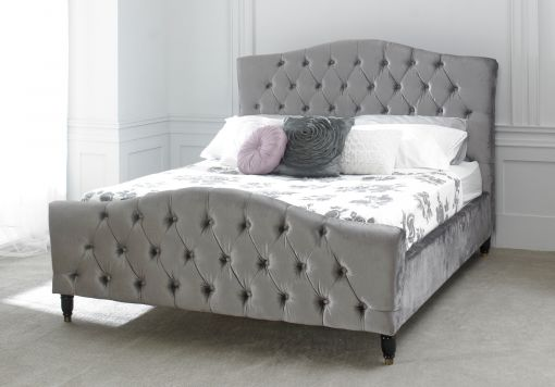 Annabel Upholstered Sleigh Bed - Silver