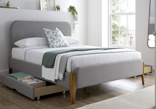 Poppy Mid Grey Upholstered Bed Frame Including 2 Drawers