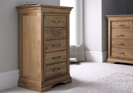 French Style Versaille Rustic Oak 5 Drawer Wellington