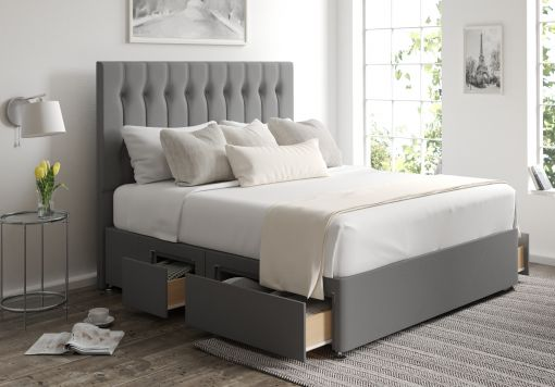 Rylee Classic 4 Drw Continental Chamonix Silver Headboard and Base Only