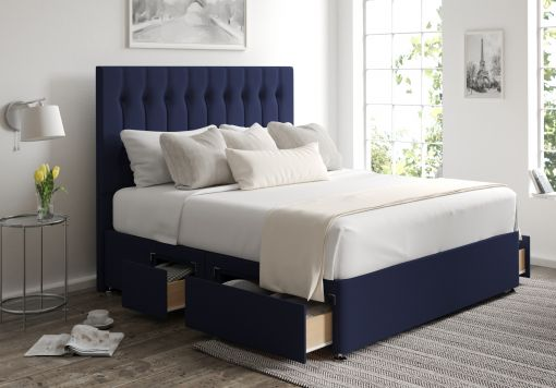 Rylee Classic 4 Drw Continental Gatsby Indigo Headboard and Base Only