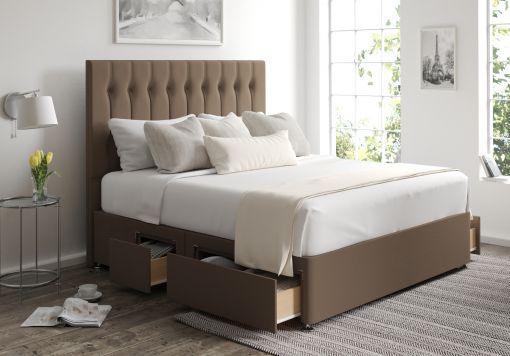 Rylee Classic 4 Drw Continental Gatsby Taupe Headboard and Base Only