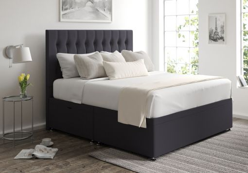 Rylee Ottoman Gatsby Gun Metal Headboard and Base Only
