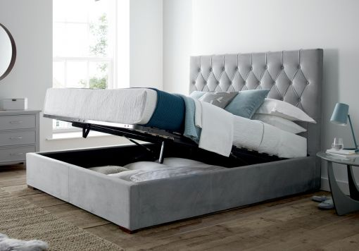 Savoy Grey Upholstered Ottoman Storage Bed Frame Only