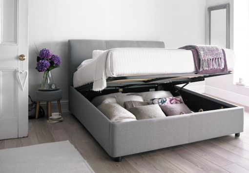 Serenity Upholstered Ottoman Storage Bed - Cool Grey