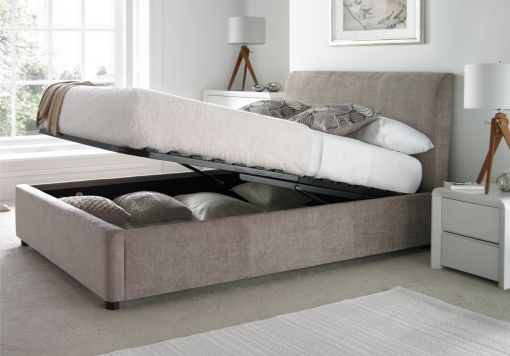 Serenity Upholstered Ottoman Storage Bed - Mink