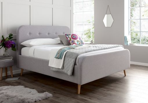 Stockholm Wolf Grey Upholstered Bed Frame