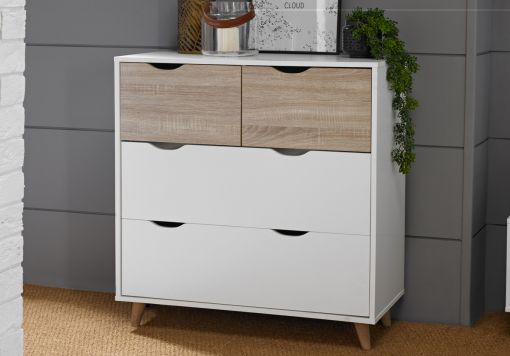 Stockholm White 4 Drawer Chest