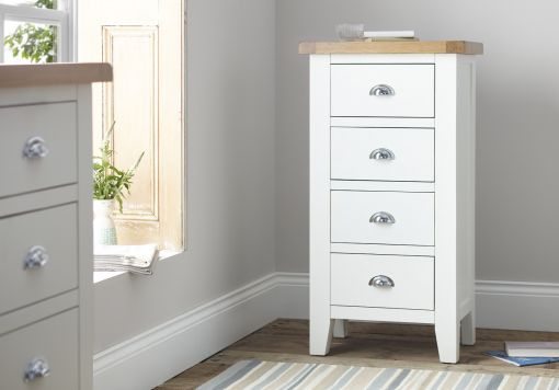Tiverton White 4 Drw Chest