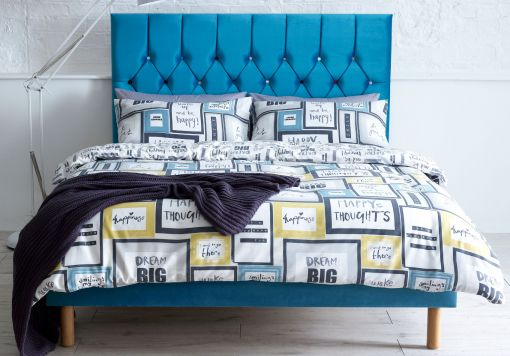 Catherine Lansfield Boutique Teal Upholstered Bed Frame Only