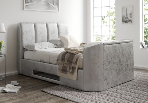 Copenhagen Upholstered Ottoman TV Bed Frame - Silver Crush