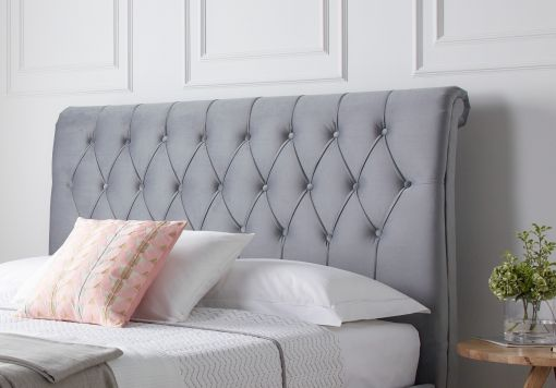 Westcott Grey Upholstered Sleigh Bed Only