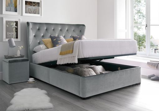 Savannah Upholstered Winged Ottoman Storage Bed - Velvet Grey