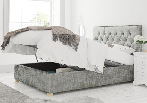 York Ottoman Distressed Velvet Platinum Bed Frame Only