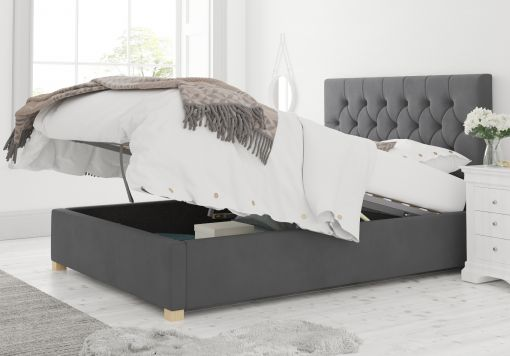 York Ottoman Plush Velvet Steel Bed Frame Only