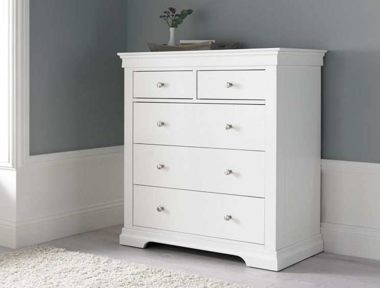 Chateaux White 5 Drawer Chest