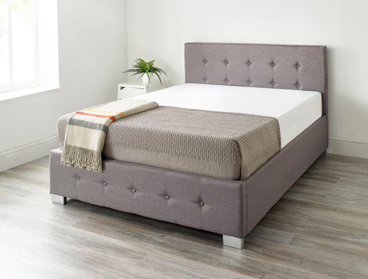 Essentials Upholstered Ottoman Grey Linen Bed Frame