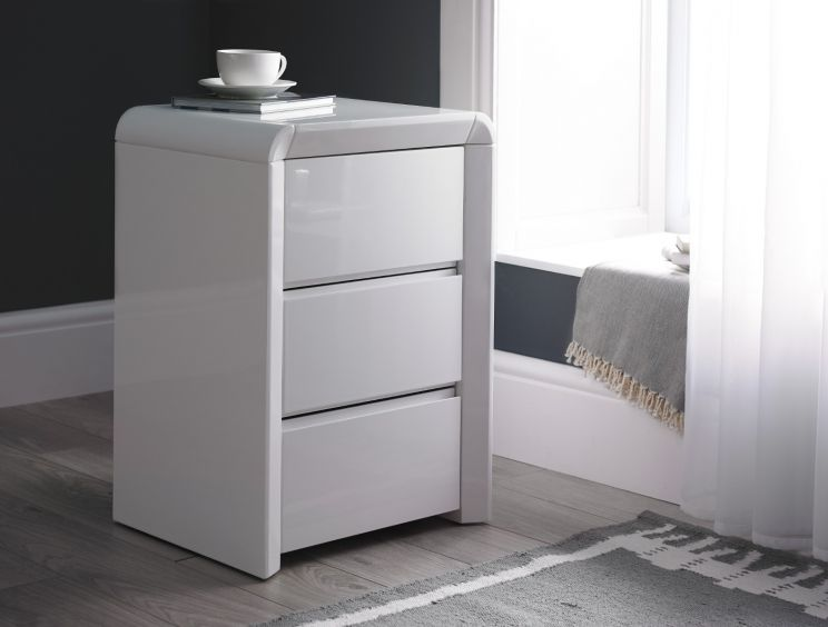Ice High Gloss 3 Drawer Bedside - White