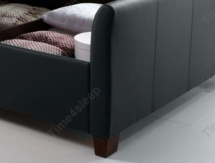 Kaydian Allendale Leather Ottoman, Black Leather Ottoman With Storage