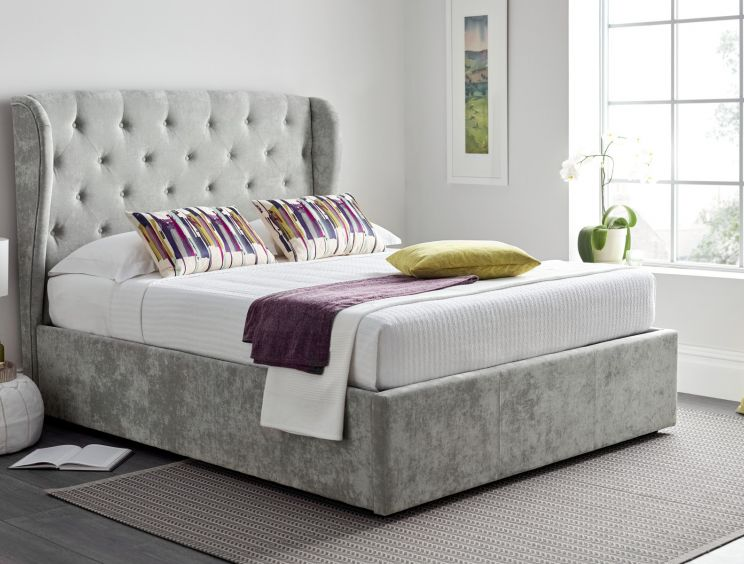 Ancona Upholstered Winged Ottoman Storage Bed -  Grey