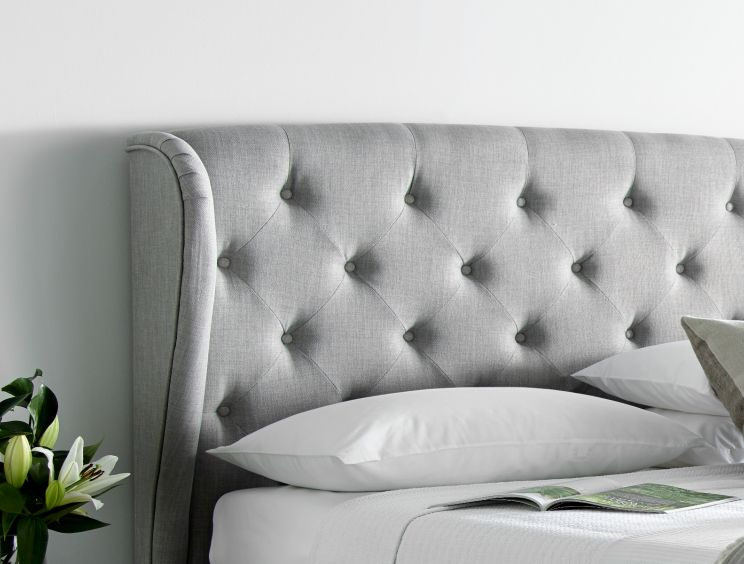 Ancona Upholstered Winged Ottoman Storage Bed - Mid  Grey