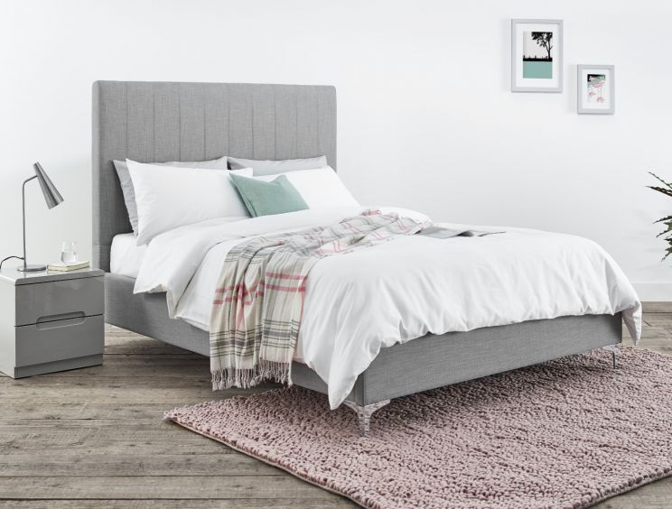 Arlana Mid Grey Upholstered Bed Frame Only