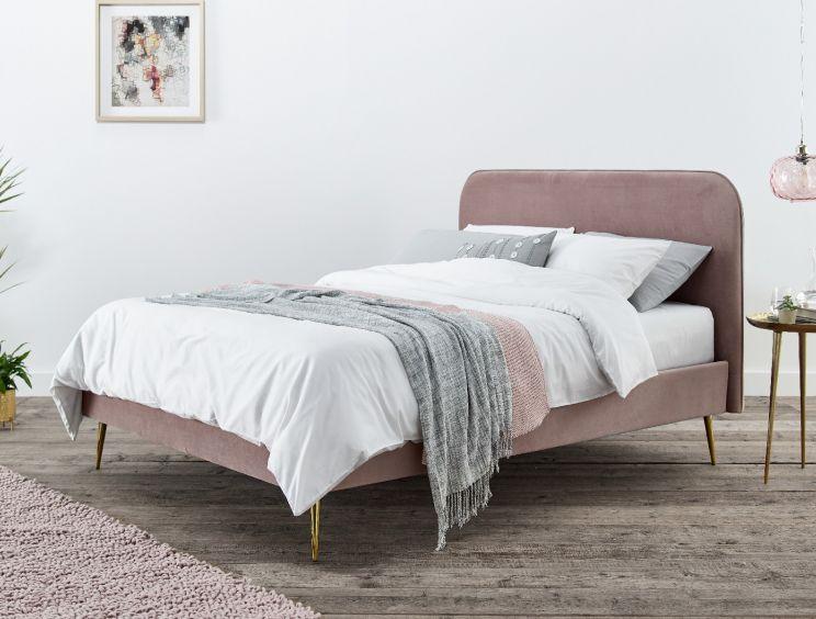 Elona Rosa Pink Velvet Upholstered Bed, Pink Upholstered Bed Frame