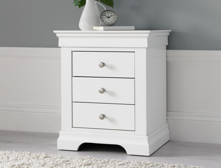 Chateaux White 3 Drawer Bedside