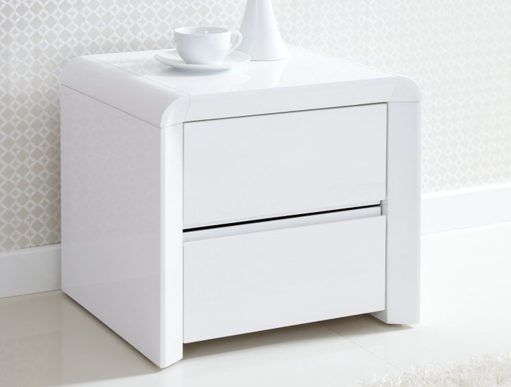 Ice High Gloss 2 Drawer Bedside - White