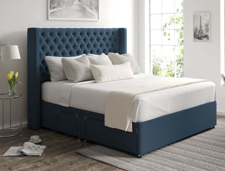 Bella Classic 4 Drw Continental Arran Cyan Headboard and Base Only