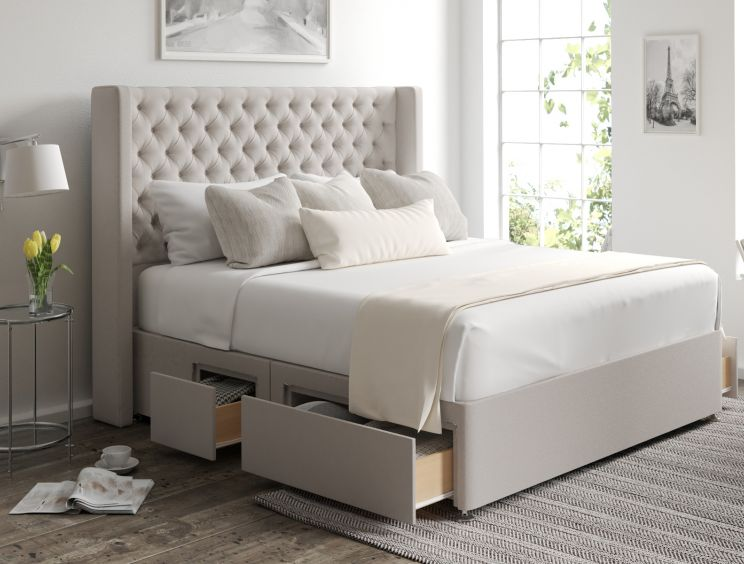 Bella Classic 4 Drw Continental Arran Natural Headboard and Base Only