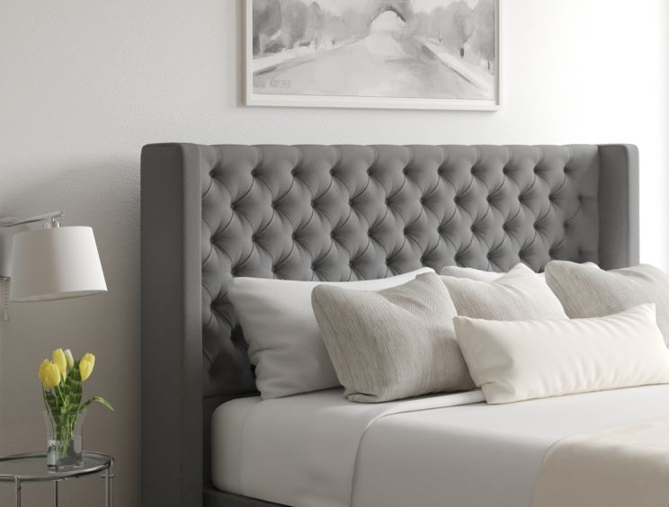 Bella Classic 4 Drw Continental Chamonix Silver Headboard and Base Only