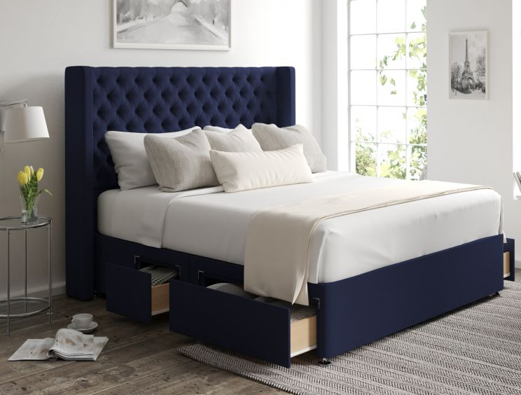 Bella Classic 4 Drw Continental Gatsby Indigo Headboard and Base Only