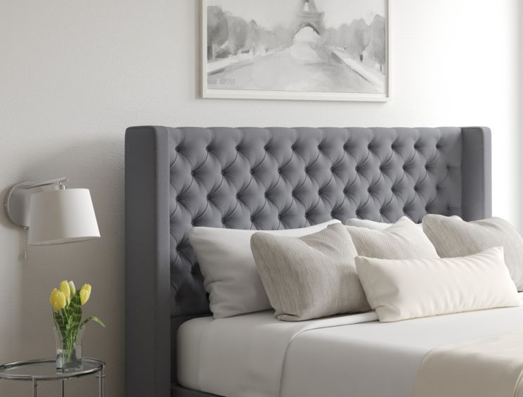 Bella Classic 4 Drw Continental Gatsby Platinum Headboard and Base Only