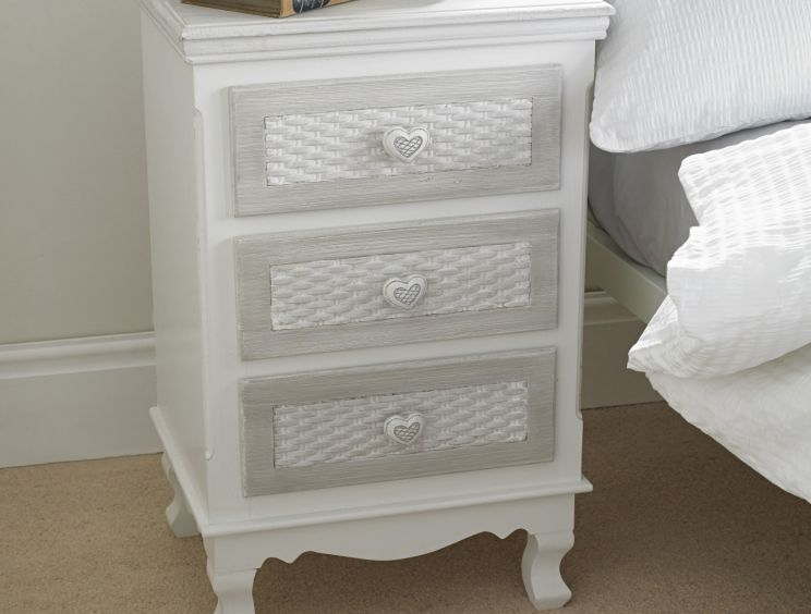 Brittany White/Grey 3 Drawer Bedside Cabinet