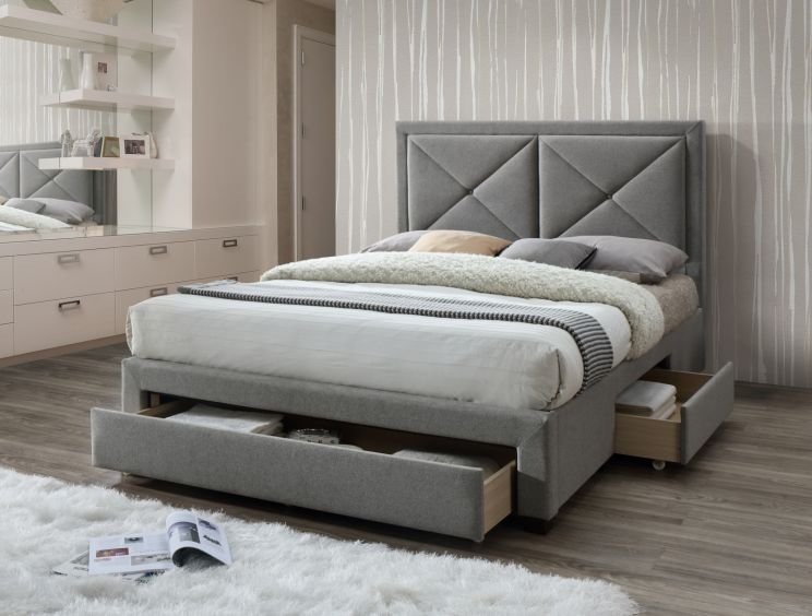 Ava Upholstered 3 Drawer Storage Bed - Grey