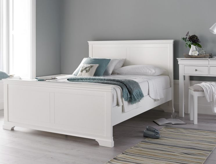 Chateaux White Wooden Bed Frame Time4sleep