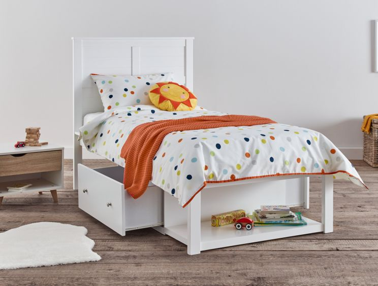 Maine White Wooden Storage Bed Frame Only