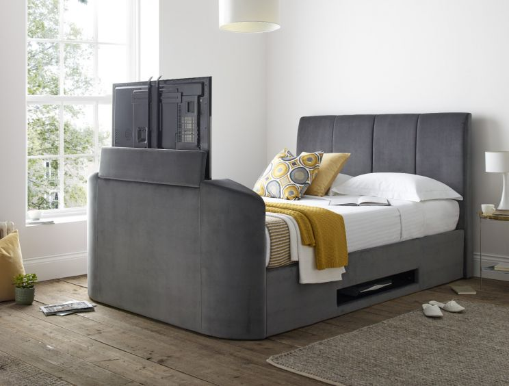 Copenhagen Upholstered Ottoman TV Bed Frame - Charcoal Velvet